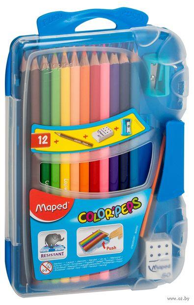 """Цветные карандаши """"Color Peps"""" (12 штук; + точилка, ластик, простой карандаш)"""