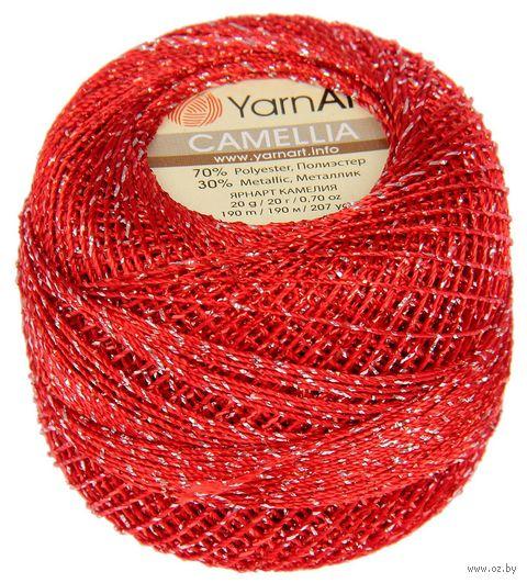 """Пряжа """"YarnArt. Camellia №416"""" (20 г; 190 м; красный-серебро) — фото, картинка"""