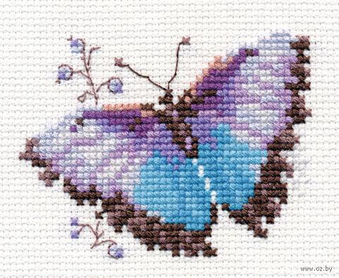 "Вышивка крестом ""Яркие бабочки. Голубая"" (80х60 мм) — фото, картинка"