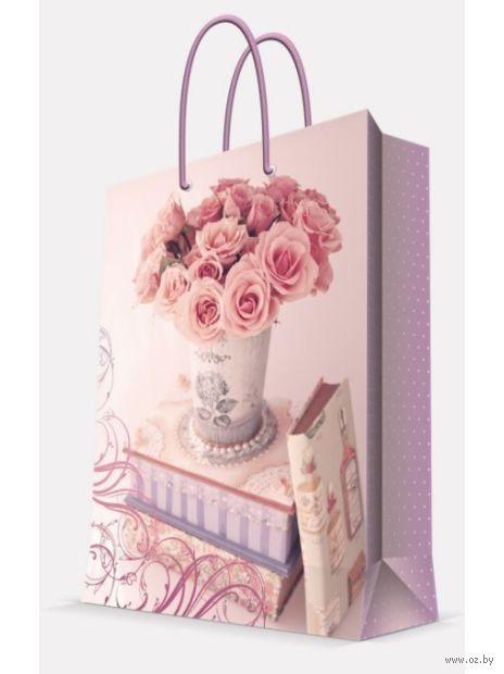 """Пакет бумажный подарочный """"Ваза с розами"""" (26х32,4х12,7 см; арт. 44203) — фото, картинка"""