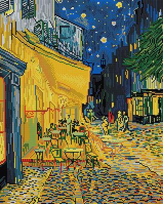 "Алмазная вышивка-мозаика ""Ночная терраса кафе"" (400х500 мм) — фото, картинка"
