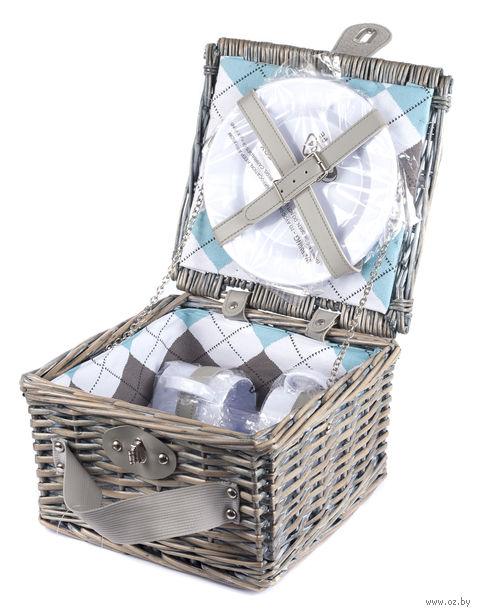 Набор посуды для пикника в корзине (на 2 персоны; арт. 10794606) — фото, картинка