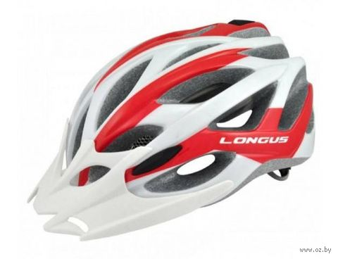"""Шлем велосипедный """"Aviax"""" (бело-красный; р. L-XL) — фото, картинка"""