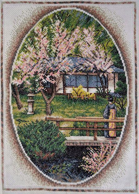 """Вышивка крестом """"Японский садик"""" (260х340 мм) — фото, картинка"""