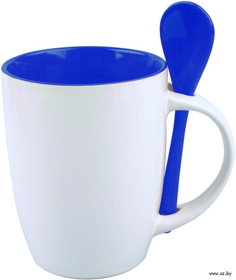 Кружка керамическая с ложкой (320 мл; белый/синий)