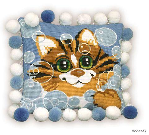 "Вышивка крестом ""Подушка. Кот"" (300х300 мм) — фото, картинка"