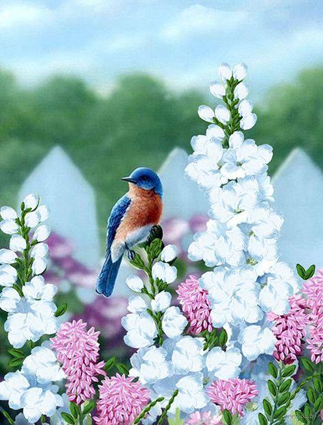 """Вышивка лентами """"Птичка"""" (250х190 мм) — фото, картинка"""