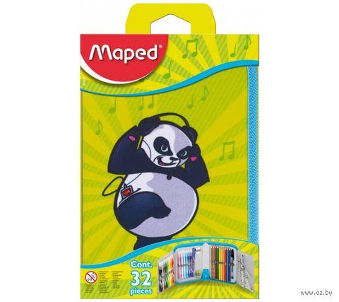 """Пенал с наполнением """"Panda"""" (32 предмета; 1 отделение; арт. 967810)"""