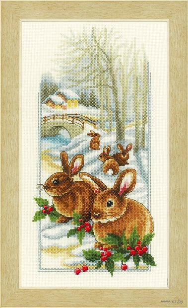 "Вышивка крестом ""Кролики на снегу"" (180x330 мм; арт. 0150174-PN) — фото, картинка"