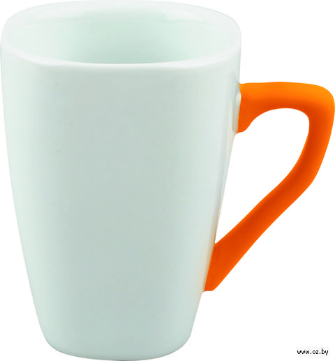 Кружка фарфоровая с силиконовым покрытием на ручке (250 мл; белый/оранжевый)