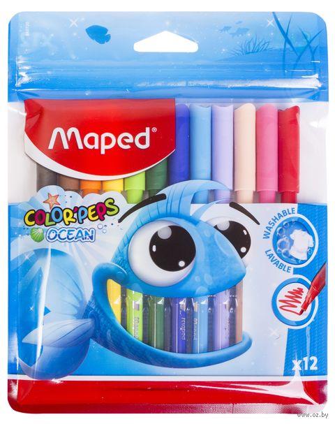"""Набор фломастеров цветных """"Color Peps Ocean"""" (12 цветов; в пластиковом пенале) — фото, картинка"""