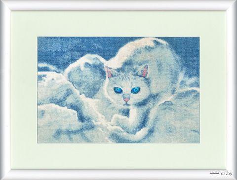 """Вышивка крестом """"Белый кот"""" (208x308 мм) — фото, картинка"""