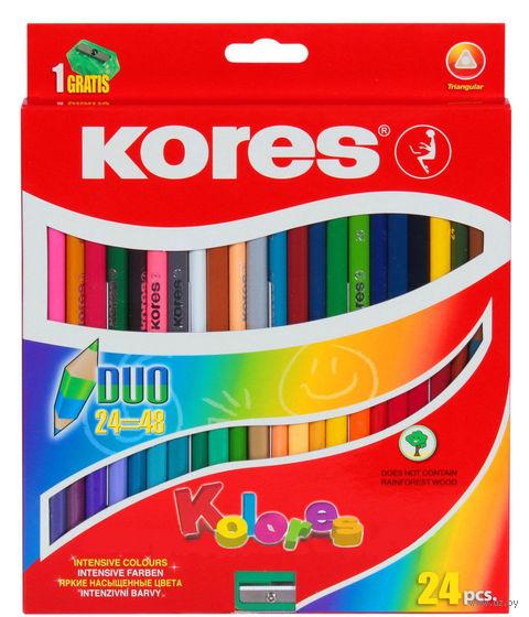 """Цветные карандаши двухсторонние """"KORES KOLORES DUO"""" с точилкой (24 штуки)"""