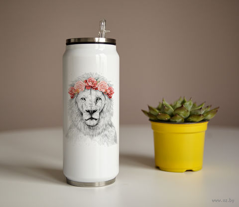 "Банка ""Лев в розовых цветах"" (350 мл) — фото, картинка"