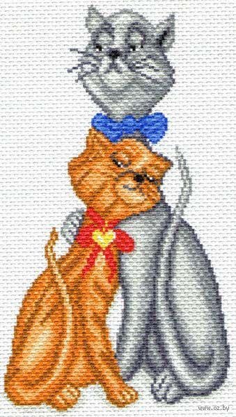 """Канва с нанесенным рисунком """"Кот с кошкой"""""""