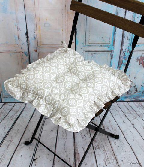 "Подушка на стул ""Ажур"" (35х35 см; молочная) — фото, картинка"