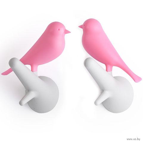 Вешалки настенные Sparrow (белые/розовые, 2 шт.)