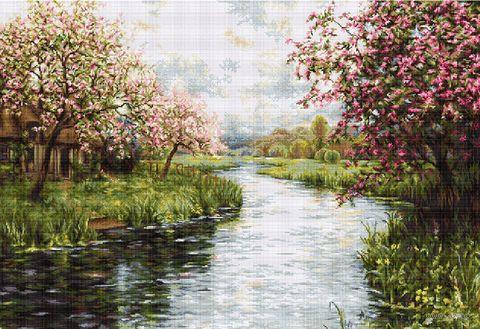 """Вышивка крестом """"Весенний пейзаж"""" (665х450 мм) — фото, картинка"""
