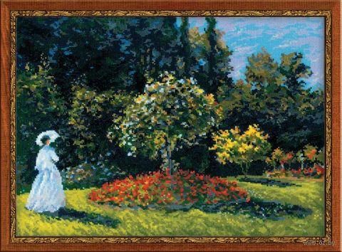 """Вышивка крестом """"Моне. Дама в саду"""" (400х300 мм) — фото, картинка"""