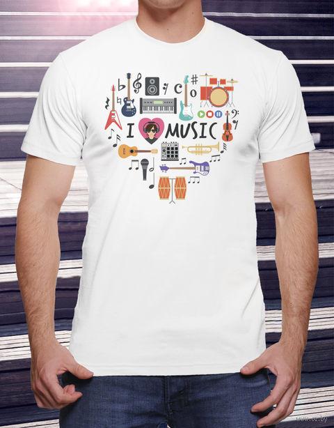 """Футболка мужская """"Love music"""" (размер 50; арт. 15) — фото, картинка"""