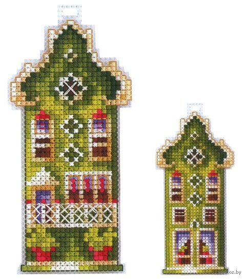 "Вышивка крестом ""Оливковый домик"" (50х100 мм) — фото, картинка"