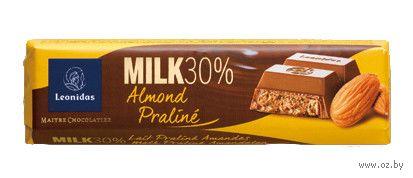 """Шоколад молочный """"Leonidas. Миндальное пралине"""" (50 г) — фото, картинка"""