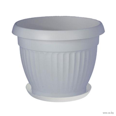 """Цветочный горшок с подставкой """"Дона"""" (12 см; белый) — фото, картинка"""