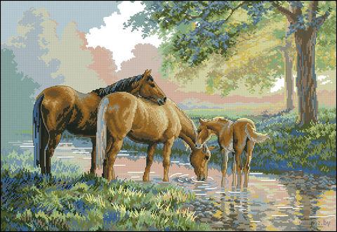 "Вышивка крестом ""Лошади у источника"" (арт. DMS-35174)"