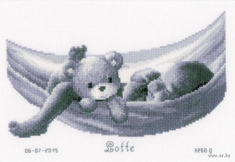 """Вышивка крестом """"Малыш в гамаке"""" (270x190 мм) — фото, картинка"""