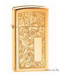 Зажигалка Zippo 1652 B. Venetian Slim. High Polish Brass — фото, картинка