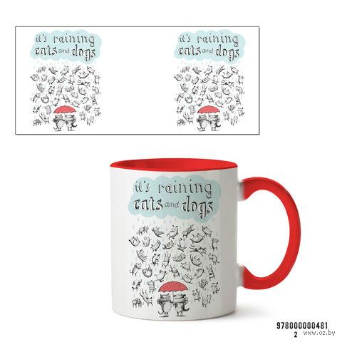 "Кружка ""It's raining cats and dogs"" (481, красная)"