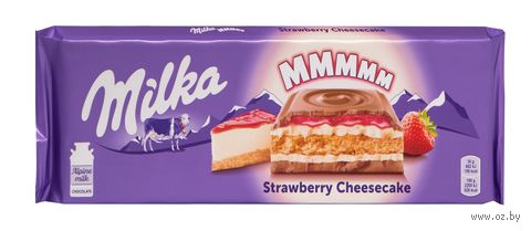 """Шоколад молочный """"Milka. Клубничный чизкейк"""" (300 г) — фото, картинка"""