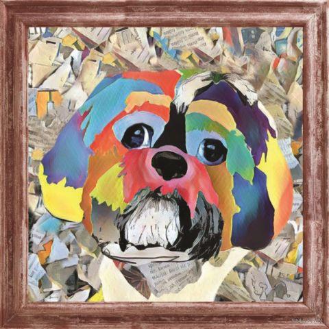 "Вышивка пайетками ""Собака"" (300х300 мм) — фото, картинка"