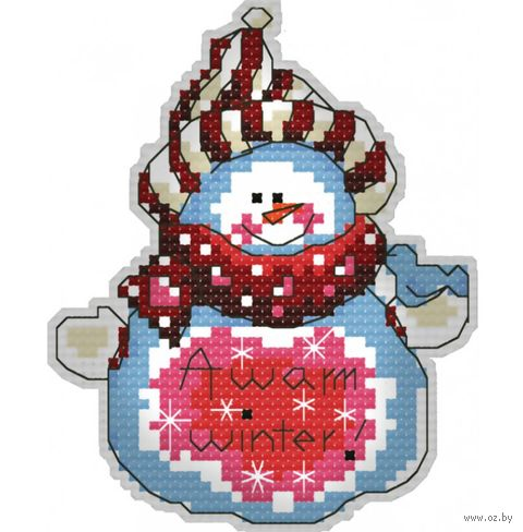 "Вышивка крестом ""Брелок. Снеговик"" (80 мм) — фото, картинка"