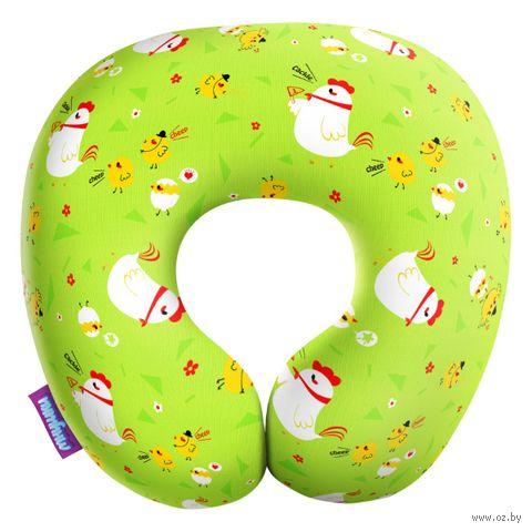 """Подушка под шею """"Цыплята на прогулке"""" (34х34 см; зелёная) — фото, картинка"""