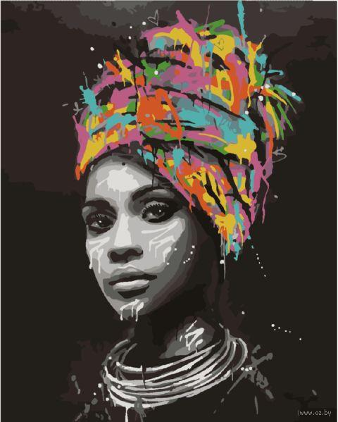 "Картина по номерам ""Девушка на черном фоне"" (400х500 мм) — фото, картинка"