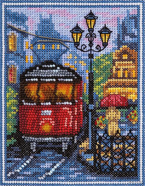 "Вышивка крестом ""Пражский трамвайчик"" (110x145 мм) — фото, картинка"