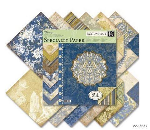 """Набор бумаги для скрапбукинга """"Голубые узоры"""" (310х310 мм; 24 листа) — фото, картинка"""