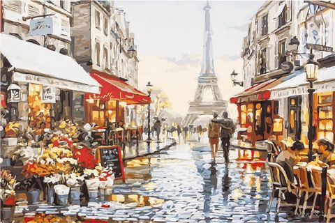 "Картина по номерам ""Париж для двоих"" (400х500 мм) — фото, картинка"