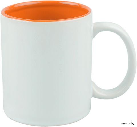 Кружка керамическая (320 мл; белый/оранжевый)