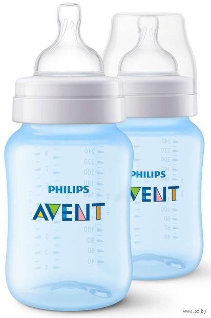 """Набор бутылочек для кормления """"Classic+"""" (260 мл; голубая; 2 шт)"""