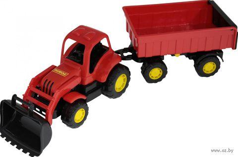 """Трактор с прицепом и ковшом """"Крепыш"""" (арт. 44556) — фото, картинка"""