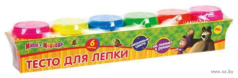 """Тесто для лепки """"Маша и Медведь. Неоновые цвета"""" (6 цветов)"""