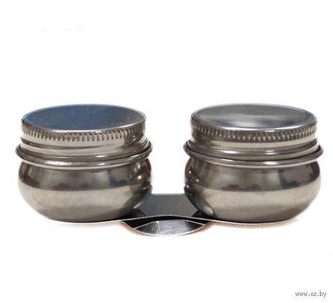 Масленка с крышкой (металлическая, двойная)