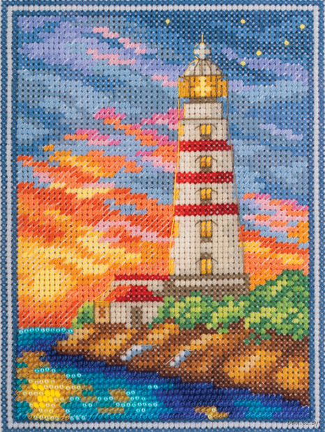 """Вышивка крестом """"Крымский маяк"""" (110x145 мм) — фото, картинка"""