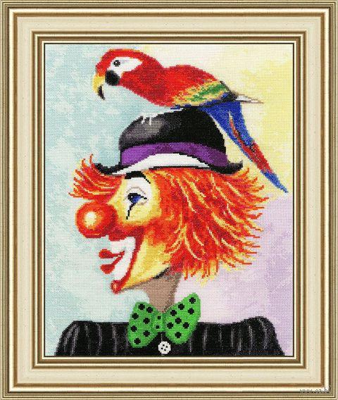 """Вышивка крестом """"Клоун с попугаем"""" — фото, картинка"""