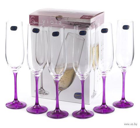 """Бокал для шампанского стеклянный """"Viola"""" (6 шт.; 190 мл; арт. 40729/D4834/190) — фото, картинка"""
