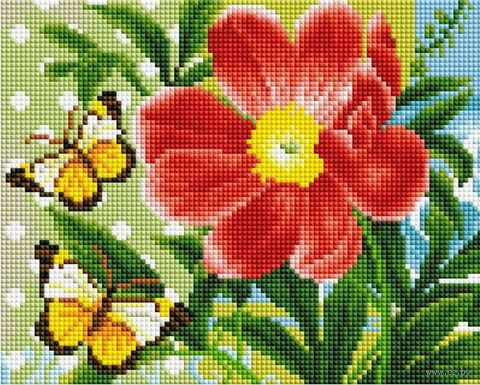 "Алмазная вышивка-мозаика ""Бабочки и цветок"" (200х250 мм) — фото, картинка"