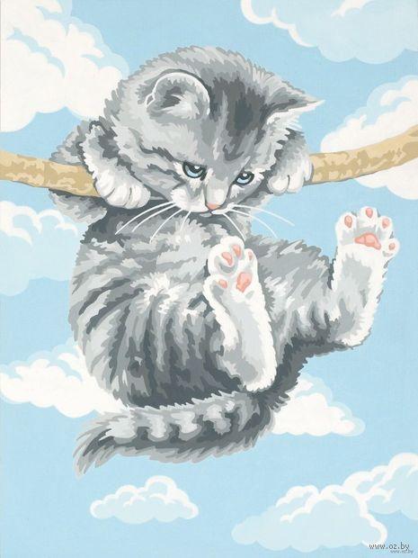 "Картина по номерам ""Котенок на ветке"" (300х400 мм) — фото, картинка"