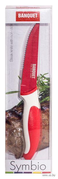 """Нож металлический с антибактериальным покрытием с пластмассовой ручкой """"Symbio"""" красный (10,5/20,5 см)"""
